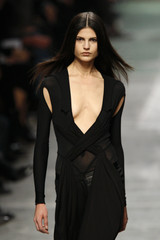 A model presents a creation by Italian designer Riccardo Tisci as part of his Spring/Summer 2009 women's ready-to-wear fashion collection for Givenchy in Paris