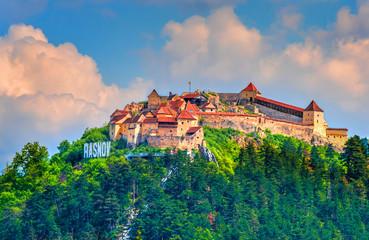 Wall Mural - Medieval fortress (citadel) in Rasnov city, Brasov, Transylvania, Romania