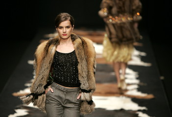 A model shows a design by Julien MacDonald from his autumn/winter 2005/2006 collection during London..