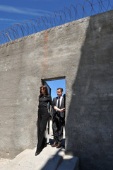 France's President Sarkozy and his wife Carla Bruni-Sarkozy visit the prison of former South Africa's President Mandela on Robben Island