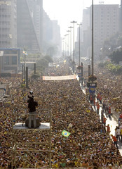 Thousands of Christians join the Jesus March in Sao Paulo, Brazil, on Corpus Christi day.