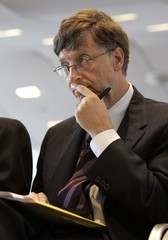 Microsoft Corp Chairman and Corbis owner Bill Gates listens during Corbis meeting in New York