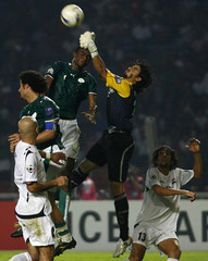 Iraq's goalkeeper Noor Sabri punches the ball clear during their final match against Saudi Arabia at the 2007 AFC Asian Cup soccer tournament in Jakarta