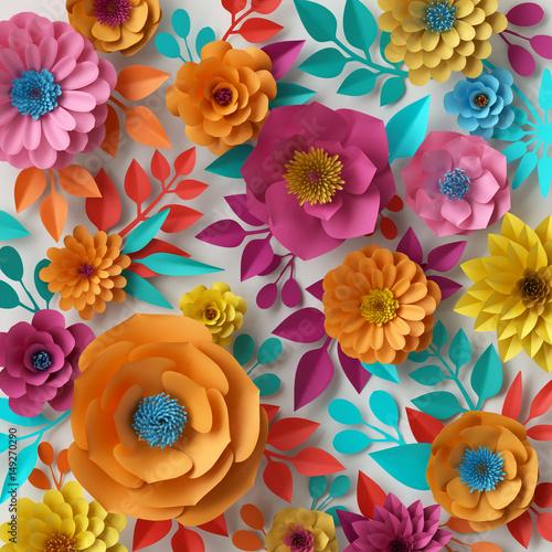 """""""3d Render, Digital Illustration, Colorful Paper Flowers"""
