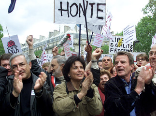 FRENCH POLITICIANS AND JOURNALISTS PARTICIPATE IN ANTI-LE PEN PROTESTMARCH IN PARIS.