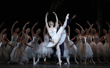 Dancers of The Royal Ballet perform scene from their production of Swan Lake during a dress rehearsal at The Royal Opera House in Covent Garden, London