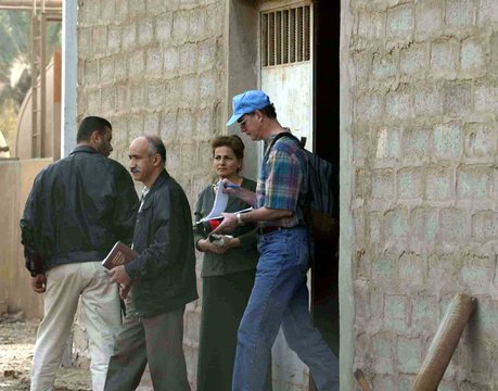 U.N INSPECTIONS TEAM SEARCH ANIMAL VACCINE PRODUCTION LABORATORY INDOURA.