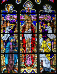 Fototapete - Stained Glass - The Crucifixion of Jesus