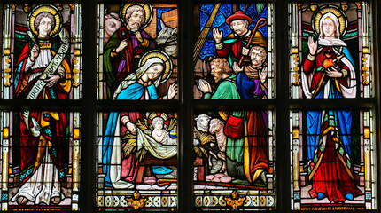 Wall Mural - Stained Glass - Nativity Scene at Christmas