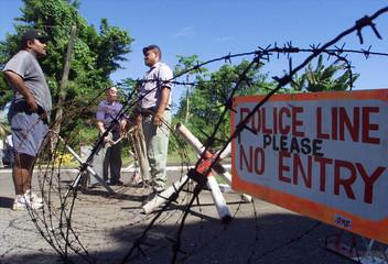 FIJIAN POLICE AT ROADBLOCK IN SUVA.