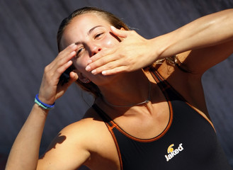 Cagnotto from Italy celebrates her third place in the women's 3m springboard diving final at the World Championships in Rome
