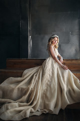 Fashion model in long dress with crown on the metal background