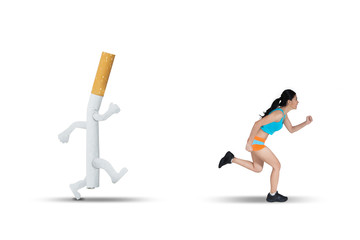 Asian woman running away from a cigarette