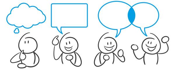 Stick Figure Series Blue / Sprechblasen, Kommunikation, Unterhaltung, Streit, Austausch
