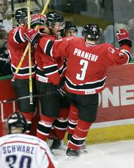 Canadians celbrate goal by Nigel Dawes against the Czech Republic.