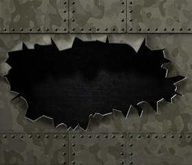 big hole in metal camouflage background 3d illustration