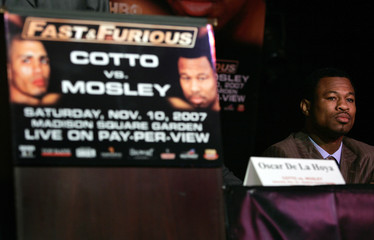 Sugar Shane Mosley looks out during a news conference for his fight with undefeated WBA world welterweight champion Miguel Cotto in New York
