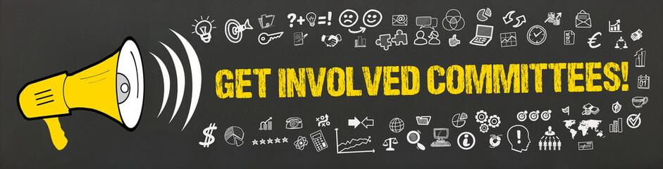 Get Involved Committees! / Megafon mit Symbole
