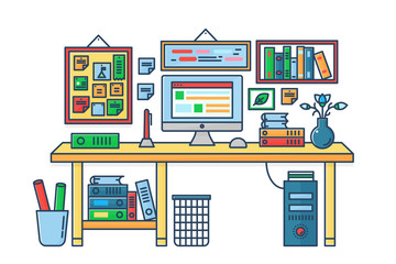 Vector illustration of a computer placed on an office desk. Room table flat color line style.