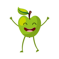 apple fresh fruit kawaii character vector illustration design