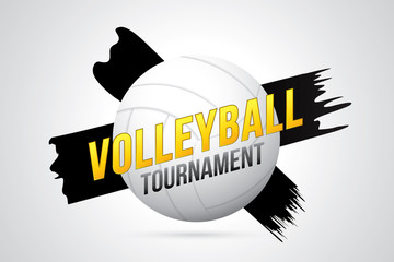Volleyball tournament badge design with ball and court.