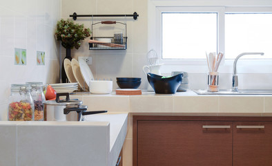 white clean counter in kitchen with utensil at home