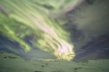 Northern Lights on the Kola Peninsula. Teriberka, Murmansk region, Russia