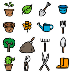 gardening objects, icons set / cartoon vector and illustration, hand drawn style, isolated on white background.