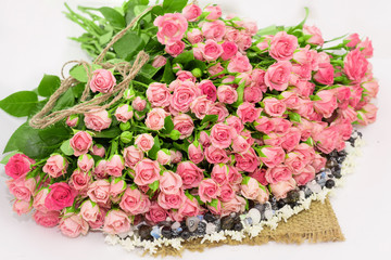 Bouquet of pink roses, floral decor.