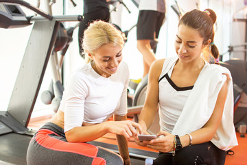 Friends social networking during workout break at gym.