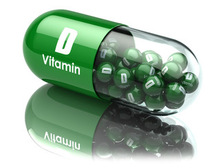Vitamin D capsule or pill. Dietary supplements.