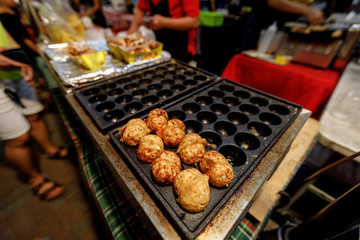 Fried Takoyaki Ball Dumplings at market