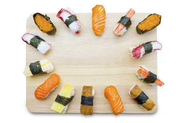Variety Japanese sushi on white background