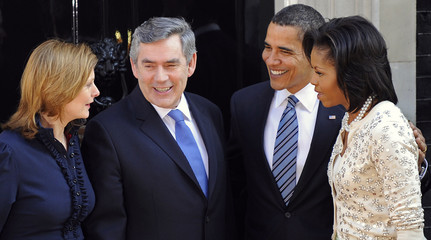 Britain's Prime Minister Brown and wife Sarah meet U.S. President Barack Obama and first lady Michelle at Downing Street in London