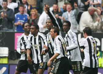 Newcastle United's Bramble celebrates goal against Chelsea during soccer match in Newcastle
