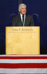 US Senator Dodd speaks during a memorial service for Senator Kennedy in Boston