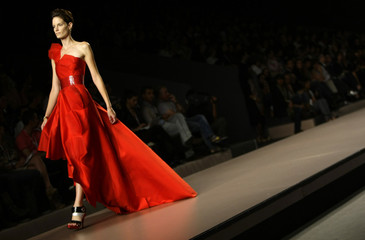 A model wears a creation by designer Devota&Lomba at Cibeles Madrid Fashion Week Spring/Summer 2010 show in Madrid