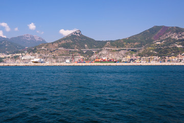 Port of Salerno seen from the sea
