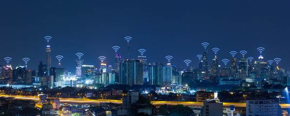 Panorama cityscape with wifi network connection concept