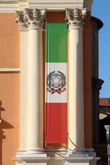 Italian flag banner with ionic columns