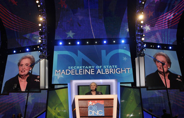 Former U.S. Secretary of State Madeleine Albright addresses the 2008 Democratic National Convention in Denver,