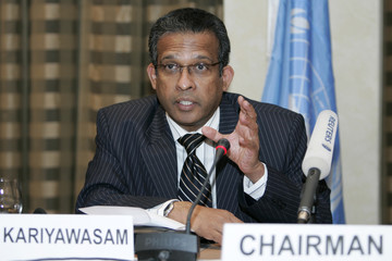 Prasad Kariyawasam, Chairman of the Special UN committee, speaks to the media during a news conference in Amman