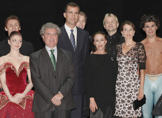 Crown Prince Felipe and Princess Letizia pose with former ballerina Plisetskaya of Russia and Spain's Culture Minister Molina at Madrid's Teatro Real