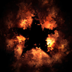 Fire And Smoke Star Isolated On Black Background