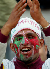 MOROCCO SUPPORTERS CHEER THEIR TEAM DURING AFRICA NATIONS CUP QUARTERFINALS IN SFAX.