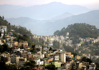A view of Gangtok the capital of the Indian state of Sikkim is seen.