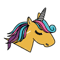 magical unicorn icon over white background. colorful design. vector illustration