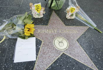 Flowers left at Johnny Carson's Star on the Hollywood Walk of Fame following the entertainer's death.