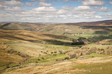 Looking down Oxnop Ghyll towards Swaledale in the Yorkshire dales National Park, England.