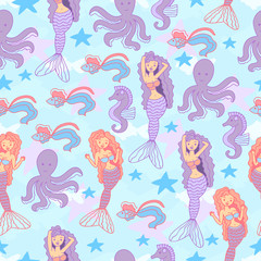 Seamless pattern with mermaids, octopus, seahorse, starfish and fish.